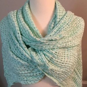 Teal scarf with metallic thread